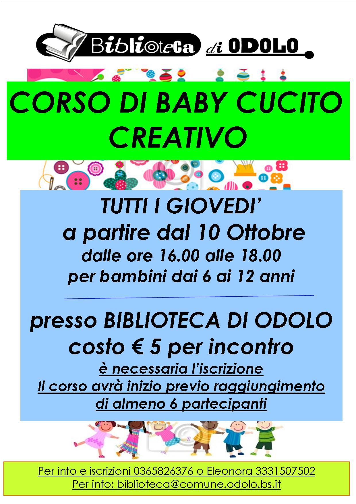 4ff2fb3a17c4 CORSO DI BABY CUCITO CREATIVO » Rete Bibliotecaria Bresciana e Cremonese
