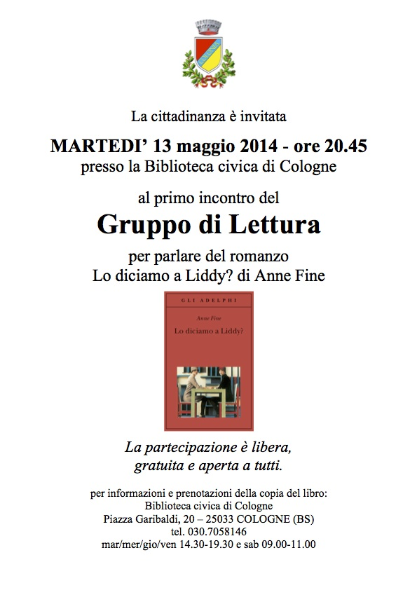 Gruppo di lettura rete bibliotecaria bresciana e cremonese for Biblioteca cologne
