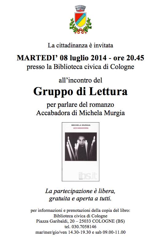 Gruppo di lettura di luglio rete bibliotecaria bresciana for Biblioteca cologne
