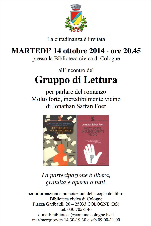 Gruppo di lettura di cologne ottobre rete for Biblioteca cologne