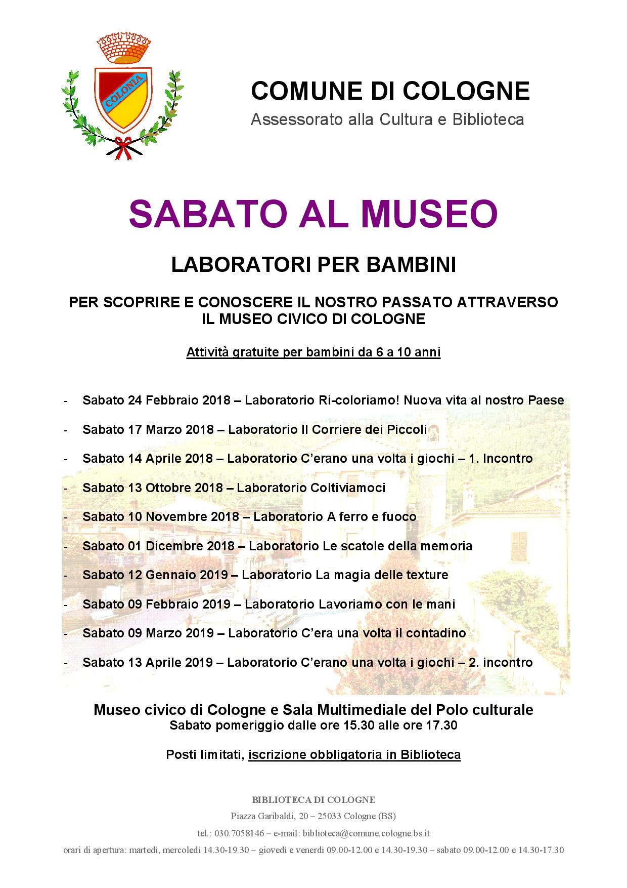 Sabato al museo rete bibliotecaria bresciana e cremonese for Biblioteca cologne